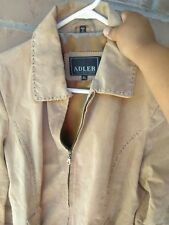 Adler Collection Light Brown Tan Geniune Leather Jacket Women's XL Suede Ribbon
