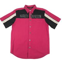 Harley Davidson Motorcycle Red Embroidered Garage Snap Button Shirt Mens M