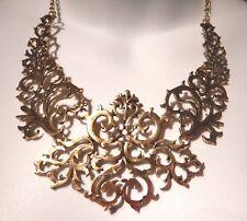 BRASS FILIGREE NECKLACE lace damask scroll vine gold Victorian bib steampunk Z7
