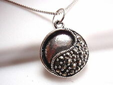Yin Yang Marcasite Necklace Sterling Silver Corona Sun is Start Point for Change
