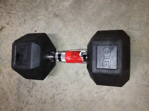 SINGLE 30 LB Rubber Coated Hex Dumbbell NEW (30 LBS TOTAL) FREE SHIPPING!