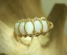 Solid 14k Yellow Gold 4X8mm Marquise Natural Australian White Opal Ring 7.0 #2