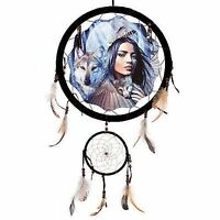 """13"""" Indian Maiden Wolves Dream Catcher Wall Hang Decor Feathers Gift Pretty 1375"""