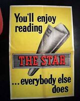 """Rare 1950's Newspaper PROMOTIONAL POSTER """"The Star"""" London England"""