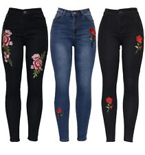 New Womens Ladies Blue Black Embroidered Applique Floral Skinny Fit Denim Jeans