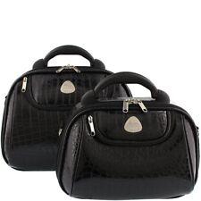 Cobb & Co Irwin Croc Beauty Case - Black  All Handbags