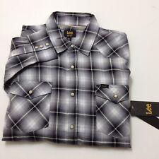 LEE Mens Western Pearl Snap Button Front Long Sleeve Plaid Shirt Gray Black Sz L