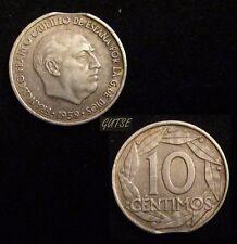 *GUTSE* FRANCO-1430, 10 CÉNTIMOS 1959, ERROR (8a), SEGMENTADA CURVA.