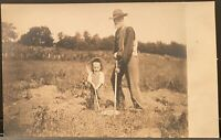 Real Photo Postcard RPPC ~ Cute Little Boy Helps Grandpa Work In Garden
