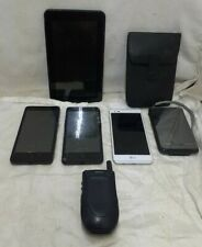 Lot of 4 cell phones 1 tablet 1 clie- broken - for parts or repair