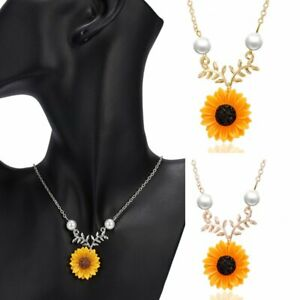 Fashion Sunflower Pearl Pendant Necklace Sweater Chain Women Party Jewelry Gift