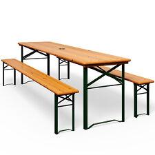 Ensemble table bancs bois pliant meuble de jardin 3 pièces terasse pliable 170cm