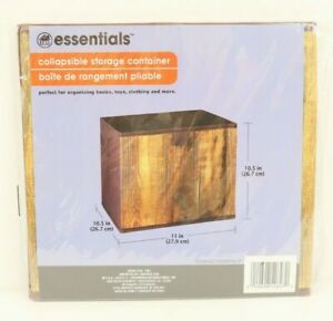 """Essential Collapsible Fabric Storage Container 10.5"""" x 11"""" x 10.5"""" Wood Look-NIP"""