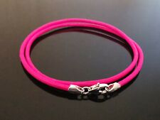 """2mm Bright Neon Pink Leather & Sterling Silver Necklace 14"""" 16"""" 18"""" 20"""" 22"""" etc"""