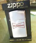 Vintage 1986 NEW BUDWEISER BEER slim ZIPPO LIGHTER  NEW in Plastic Case