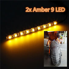 2 x Universal Amber/Yellow 9 LED Motorcycle Strip Turn Signal Indicator Lights