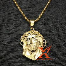 "18K GOLD PLATED FILLED MICRO JESUS FACE HEAD PENDANT NECKLACE 3MM 24"" BOX CHAIN"