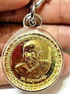 1pc Fortune Coin Gold Plated Metal LEKLAI Lp Toh Thai AMULET Somporn top Pendant