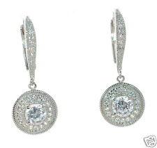 Joseph Esposito Diamonique Solid 925 Sterling Silver Round Drop Earrings '