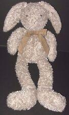 "Jellycat Shushky Bunny 16"" Tan Plush Rabbit Long Legs Suede Bow Stuffed Animal"