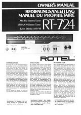 Rotel RT-724 Tuner Owners Instruction Manual