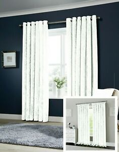 "White Luxurious Crushed Velvet Lined Curtains Eyelet & 3"" Tape + Free Tie Backs"