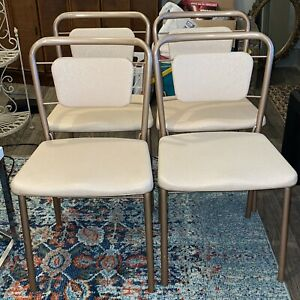 Vintage Cosco Fashionfold Folding Metal Chair Padded Seat Made In USA X4 MCM