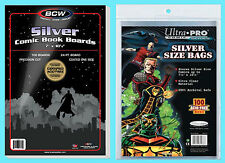 """100 BCW SILVER AGE SIZE COMIC BOOK BACKING BOARDS & ULTRA PRO BAGS 7"""" x 10-1/2"""""""