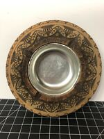"""Vintage Unique Ashtray Carved Wood With Metal Wire Design 5.5"""""""