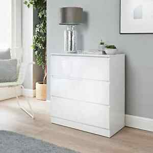 White Wide 3 Chest of Drawers Bedroom Furniture Bedside Night Stand Draw -358575