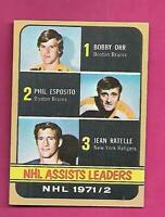 1972-73 TOPPS # 62 ORR / ESPOSITO / RATELLE LEADERS NRMT+  CARD (INV# D4337)