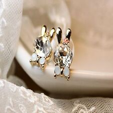 Lovely Shine Crystal Animal Bunny Rabbit Earring Ear Stud Jewelry Rhinestone White