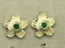 E018 Lovely Genuine 9ct Solid GOLD NATURAL Emerald BLOSSOM Earrings Flower Studs