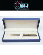 WATERMAN Hémisphère Stainless Silver W/Gold Trim Ballpoint Pen (Aussie Seller)