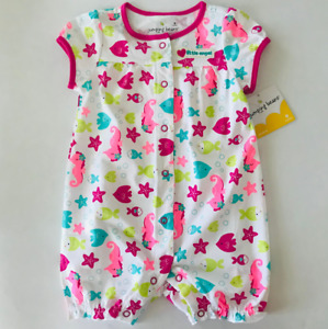Baby Girl 9 Months Fish Romper Sunsuit Clothes Cotton Little Angel Seahorse