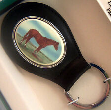 Key Ring Leather Barlow Scrimshaw Carved Painted Thoroughbred Horse 330612c NEW