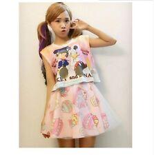 Cute Yummy  Doughnut Cake Ice Cream Pattern Skirts Short  Dress Mini Pink Lolita