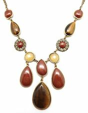 "LUCKY BRAND Goldtone Tiger's Eye with Citrine and Sunstone Necklace 20"" - 22"""