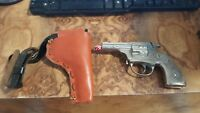 "Vintage Hubley ""Trooper"" 5.5""  Nickel Plated Die cast Cap Gun c.1950s + Holster"