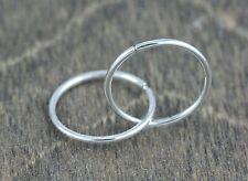10k White Gold Sleeper Earrings, (NEW, 14mm diameter, 1 mm thick, 0.5g) 2790