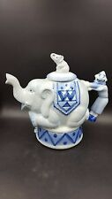Vintage Bombay Co Decorative Elephant and Clown Blue Grey Tea Pot