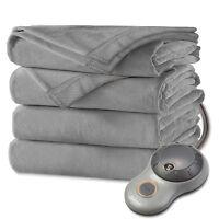 Sunbeam Fleece Electric Heated Blanket ASSORTED COLORS King Queen ...