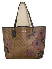 💚 Coach Kaffe Fassett Floral Print City Tote Bag Signature Canvas Purse Handbag