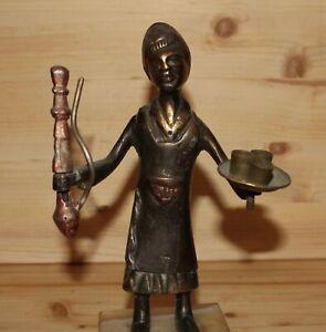 Vintage Middle east hand made metal figurine man with hookah