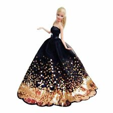 Luxury Black Wedding Party Dress Gold Sequins Clothes Grows For Barbie Doll Gift
