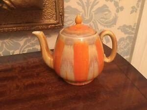 SHELLEY ORANGE/BROWN/YELLOW DRIP EFFECT TEA POT