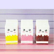 Big Milk Carton Cellphone Strap Emoji Squishy Elastic Bread Bun Stress Reliever