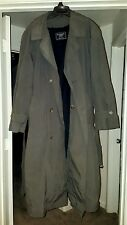 Botany 500  Belted Trench Coat Mens Dark Grey Wool Lining Double Breasted