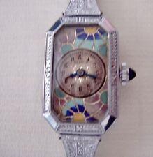 Benrus Watch Vintage Ladies 1920's Art Deco Cloisonne Dial 14K/metal Very Rare
