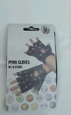 Punk Fingerless Gloves With Studs Fancy Dress Punk Goth 80s